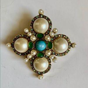 Monet Vintage Jeweled Brooch  Precious Stones